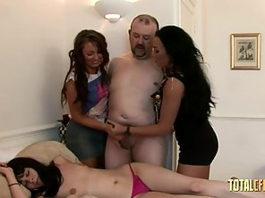 Two Babes Handjobs Dude's Old Dick