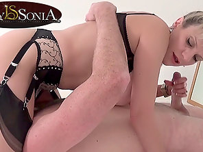 Busty Mature Babe Gives Blowjob To Her Dude's Throbbing Dick