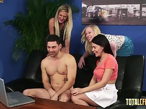 Satine Spark, Ava Dalush And Bobbie Jay Suck Then Stroke Lucky Dude Dick