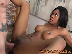 Ebony Busty Shows Her Chocolate Pussy And Rammed By Tattooed Dude