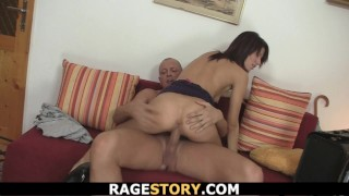 Brunette Wife Takes Deep Blowjob And Hardcore Cock Riding