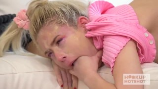 Skinny Blonde Jessie Saint Gets Fucked Into A Mess On The Floor